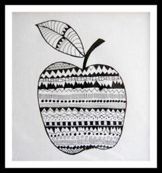 Zentangle drawing tegning  Tungelunden. Nice. Idea to do with kids. Make the shape of a fruit ansd get them to fill it with patterns in b/w or even colour.  ( f.eks. All friends who visit could do one)