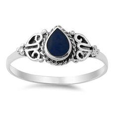 Vintage Celtic Simulated Black Onyx Promise Ring