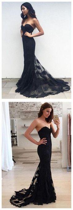 Mermaid Prom Dresses,Black Lace Prom Dress,Prom dress,Modest Evening