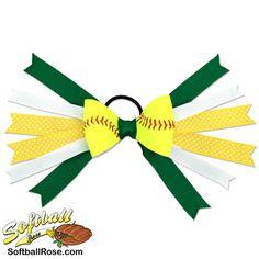 Handmade Softball Hair Bow made from real softball leather Softball Hair Bows, Softball Shirts, Softball Players, Softball Cheers, Softball Crafts, Softball Pitching, Fastpitch Softball, Green Ribbon, White Ribbon