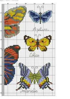 Cross stitch butterfly and chart. Cross Stitch Fruit, Butterfly Cross Stitch, Cross Stitch Love, Cross Stitch Alphabet, Cross Stitch Animals, Cross Stitch Charts, Cross Stitch Designs, Cross Stitch Patterns, Cat Cross Stitches
