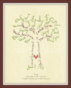 family tree - etsy...i think it would be cool to have the actual signatures of as many family members on the tree as possible.  Cool thing for your kids to have.