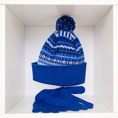 0ddf92ee2a3c9 Our Ugie  fairisle hat with matching  lambswool gloves in  blue . Who do