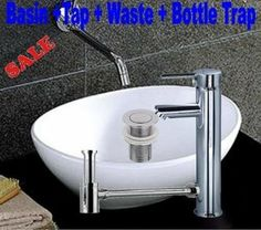 BATHROOM COUNTERTOP OVAL CERAMIC BASIN SINK WITH TAP, WASTE AND BOTTLE TRAP: Amazon.co.uk: Kitchen & Home - only £64.99 (cheap!)
