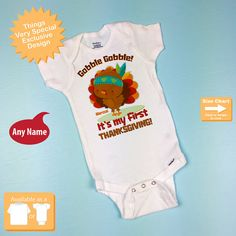 1st Thanksgiving Onesie outfit Personalized by ThingsVerySpecial