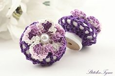 Drawer-Pull-Knob-Crochet-Covered-by-StitchnTyme-Purple-1-12-inches