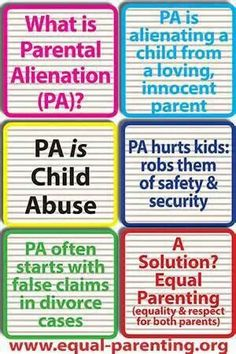 Parental Alienation. Another form of child abuse, and just as sad/wrong as any other type of abuse.