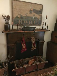 home furniture – My WordPress Website Primitive Fireplace, Primitive Living Room, Fake Fireplace, Christmas Fireplace, Primitive Homes, Primitive Kitchen, Primitive Furniture, Primitive Christmas, Country Primitive