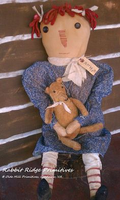 prim raggedy ann with bear by Rabbit Ridge Primitives @ Olde Mill Primitives, Goodview, VA