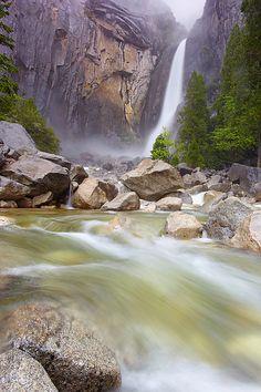 bottom 320 feet of 2425 foot Yosemite Falls, Yosemite National Park, CA.  Photo: Patrick Smith via SmugMug