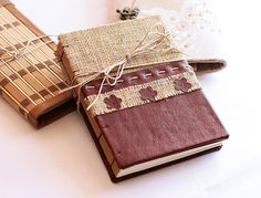 Wedding guest book/ handmade rustic burlap faux leather notebook,journal,diary with creamy book paper with flower pattern / coptic stitch