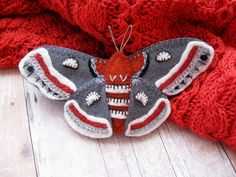 Cecropia Moth Brooch  Made to Order Embroidered Felt by SandhraLee