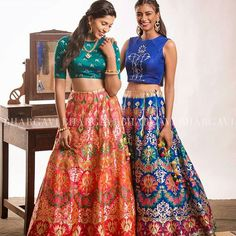from @bhargavikunam -  Fresh out of the oven are these two exclusive intricately handwoven banarasi jamdani brocade lehengas with crop-tops. 😍❤️Let's take a moment to take in all the beauty  and colours, shall we?  I can't think of a better outfit to make you look like a beautiful princess.  This is just a teeny-tiny glimpse of what we have at our studio.  Who is coming to visit us at our studio to check out all our new collections? Be prepared to be amazed 😄. See you all soon!❤️…