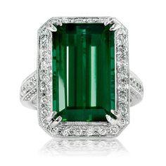 11.30CT Vintage Tourmaline Pave VVS Diamond Engagement Ring 18K White Gold Size 6