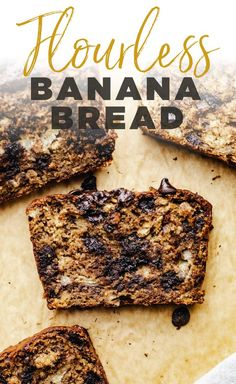The best Chocolate Chip Flourless Banana Bread - a moist and irresitable banana bread made with no flour and clean ingredients! Banana Bread Almond Flour, Oatmeal Banana Bread, Paleo Banana Bread, Chocolate Chip Banana Bread, Banana Bread Recipes, Oat Flour Recipes, Baking Recipes, Easy Desserts, Dessert Recipes