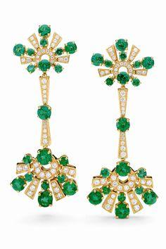 Bulgari High-jewellery earrings in yellow gold with 14 round-cut 1.19 carat emeralds, 10 round-cut 6.18 carat emeralds, eight round-cut 2.87 carat emeralds, six round-cut 0.81 carat emeralds and 2 carat pavé diamonds.