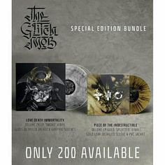 """Special Edition """"Love Death Immortality"""" & """"Piece Of The Indestructible"""" vinyl bundle. Limited Edition, this packages both records into one special edition bundle. """"Love Death Immortality"""" deluxe 2x LP 'Smoke"""" vinyl.  Gloss detailed jacket & graphic sleeves. """"Piece Of The Indestructible"""" deluxe 10"""" EP """"Gold Splatter"""" vinyl.  Gold leaf detailed sleeve & PVC jacket. ORDER YOURS: http://smarturl.it/TGMstore"""