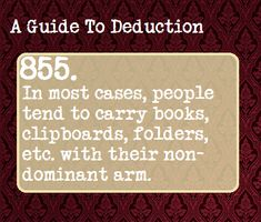 A guide to deduction Book Writing Tips, Writing Prompts, Writing Help, Guide To Manipulation, A Guide To Deduction, The Science Of Deduction, Psychology Memes, Detective, How To Read People