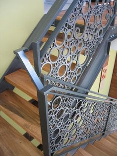 Chopped up tubing and pipe - amazing staircase by Philip Tiffin.Railing made from chopped up drop from tubing and pipe. Satiin finish with bees wax over coat. Railing Design, Stair Railing, Staircase Design, Railings, Wood Handrail, Railing Ideas, Banisters, Staircase Metal, Stairs Balusters
