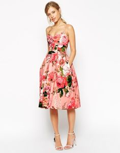ASOS SALON Rose Print Bandeau Midi Prom Dress at asos.com