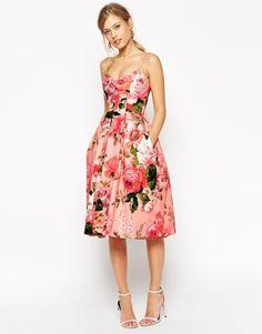 ASOS SALON Rose Print Bandeau Midi Prom Dress at asos.com