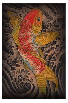 Koi-by-Clark-North-Tattoo-Art-Print-Japanese-Asian-Traditional-Fish-Waves