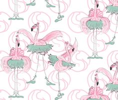 Ballet basics by Mes Dames Flamingoes fabric by majo_bv on Spoonflower - custom fabric