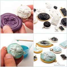 Last week we launched our newest Sculpted Relief Buy & Try Program. Within this technique tutorial we showed just how easy it is to create unique Crystal Clay sculpted pendants. Clay Beads, Polymer Clay Jewelry, Resin Jewelry, Jewelry Crafts, Jewelry Art, Ceramic Beads, Clay Earrings, Jewelry Ideas, Cold Porcelain Jewelry
