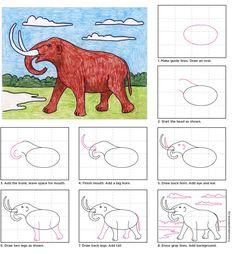 Draw a Mastodon. PDF download. #directdraw #howtodraw #mastodon