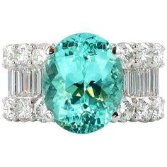 5.64 Carat Paraiba Tourmaline Diamond Ring in White Gold 750 For Sale at 1stDibs Blue Tourmaline, Tourmaline Jewelry, Band Rings, Fashion Art, Fine Jewelry, White Gold, Gems, Engagement Rings, Jewels