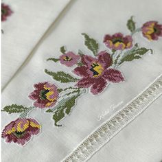 This Pin was discovered by Beş Hand Embroidery Patterns, Cross Stitch Embroidery, Cross Stitch Patterns, Ribbon Work, Cross Stitch Flowers, Blackwork, Needlepoint, Needlework, Sewing Projects