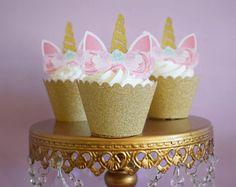 Unicorn Cupcake Topper, Unicorn cake, Unicorn Birthday, Unicorn Party, Unicorn Cake Topper, Unicorn head, Unicorn Decoration, Gold, Silver
