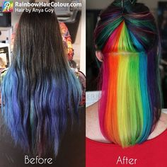 peek-a-boo rainbow hair !