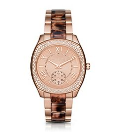 Bryn Pavé Rose Gold-Tone and Tortoise Acetate Watch by Michael Kors