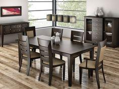 table salle manger extensible bois design élégant chaises bois cuir