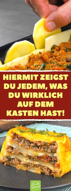 Aus der Kastenform: Kartoffelauflauf mit Hackfleisch, Spinat, Tomaten & Käse With this you show everyone what you really have on the box! From the crate: potato casserole with minced meat, spinach, to Meat Recipes, Mexican Food Recipes, Cooking Recipes, Ethnic Recipes, Best Casseroles, Tomato And Cheese, Potato Dishes, Vegetable Drinks, Potato Casserole