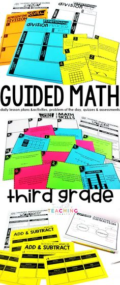 "A complete year of math curriculum for third grade.  Each 3rd grade unit contains standards-based daily lesson plans & activities, unit pre- & post-assessments, problem of the day, weekly quizzes, & answer sheets.  Included: place value, add & sub, mult & div concepts, models, & problem solving, fractions, measurement, elapsed time, area, & perimeter, 2D & 3D shapes, graphs, data, & personal finance, test prep.  Learn more about ""Third Grade Guided Math"" at www.tunstallsteachingtidbits.com"