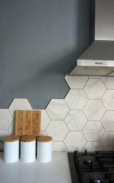 Hexagonal Wall Tiles from British Ceramic Tile: Kitchen Update Kitchen Wall Tiles Design, Kitchen Splashback Tiles, Modern Kitchen Backsplash, Modern Kitchen Design, Tile Design, Backsplash Ideas, Ceramic Design, Farmhouse Style Kitchen, Modern Farmhouse Kitchens