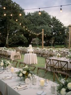 Gorgeous lighting at this outdoor wedding reception