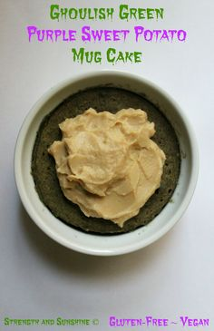 Ghoulish Green Purple Sweet Potato Mug Cake | Strength and Sunshine @RebeccaGF666 A fun gluten-free, vegan mug cake to celebrate the holiday!