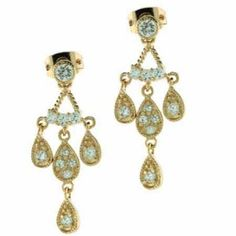18K Gold over Sterling Silver Cubic Zarconia Teardrop Chandelier Earrings #CartsOnFire #shopwithapurpose