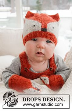 Ravelry: b Baby Fox Mittens pattern by DROPS design Baby Knitting Patterns, Free Knitting, Crochet Patterns, Knitting Designs, Drops Design, Fox Pattern, Mittens Pattern, Pants Pattern, Hat Patterns