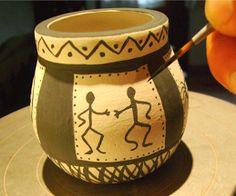Mates Pintados - Resultados de Yahoo España en la búsqueda de imágenes Ceramic Pots, Clay Pots, South Africa Art, Talavera Pottery, Desert Art, Painted Pots, Ceramic Design, Handicraft, Candle Holders