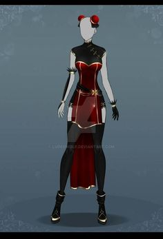Crimson and Gold Chinese Dress by LudedWolf on DeviantArt Source by anime Drawing Anime Clothes, Dress Drawing, Anime Outfits, Cool Outfits, Fashion Outfits, Fashion Design Drawings, Fashion Sketches, Dress Sketches, Drawing Sketches