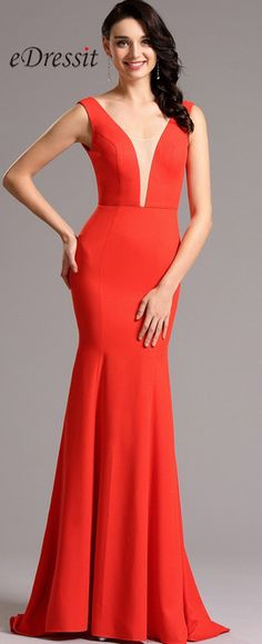 eDressit Sleeveless V Neck Red Formal Dress