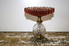 Vintage Cranberry Glass Candy Dish Antique by VintageShoppingSpree, $36.00