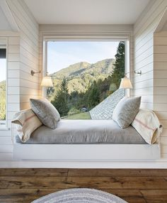 Mountain view windows bedroom rustic with white paneling window seat window seat