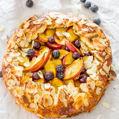 Peach and Blueberry Galette. Peach and blueberry galette made with a sour cream dough that makes the crust super flaky. Simple and delicious! Gallette Recipe, Crostata Recipe, Peach Galette Recipe, Baking Recipes, Dessert Recipes, Baking Pies, Healthy Desserts, Healthy Foods, Delicious Desserts