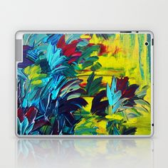 FLORA - Gorgeous Lemon Lime Citrine Chartreuse Floral Bouquet Garden Flowers Colorful Nature Beauty Laptop & iPad Skin by EbiEmporium - $25.00
