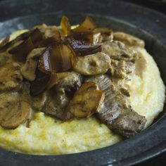 Beef Steak and Mushrooms is an established family favourite. Give it a flavour twist with the addition of some Char-grilled Shallots and serve it on a bed of Deluxe Polenta.